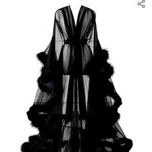 Intimates & Sleepwear - Black feather lingerie bathrobe